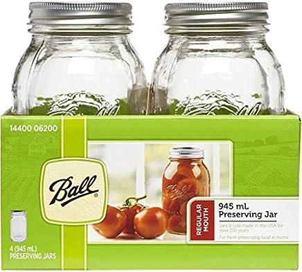 BALL MASON JARS Ball Mason Glass Preserving Homemade Jam Gift Jars, 945 ml, Pack of 4, 20 x 21 x 18 cm