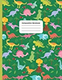 Green Dinosaurs Primary Composition Notebook: Journal for Boys & Girls:   Fun Dinosaur and Prehistoric Life Pattern for Kids   Wide Ruled Book 8.5 x ... to School Supplies for Teachers and Students