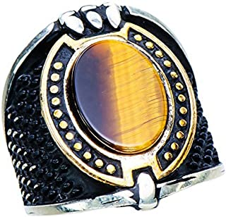 خواتم من الفضة الإسترلينية 925 للرجال من صحراء الصحراء الصحراء، لون بني طبيعي، مقاس 10.5