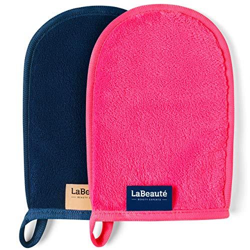 LaBeauté Abschminkhandschuh (2 Stück), Mikrofaser, waschbar und wiederverwendbar, Make-Up Entferner Handschuh, zur Gesichtsreinigung (20x13 cm, Pink und Navy-Dunkelblau)