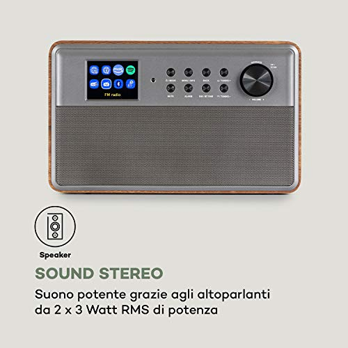 AUNA Connect Link - Web Internet Radio, DAB+/FM, Spotify Connect, Amazon Music, Funzione Bluetooth, App-Control con UNDOK, Display HCC (High Contrast and Color) da 2,4