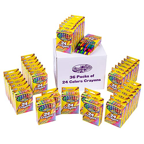 Creative Kids 864 Crayons Classpack Assortment - 36 Boxes of 24 Count Bulk Crayons for School Supplies For Teachers For Classroom, Party Favors, & Art Crafts – Non-Toxic Conforms Astm D4236
