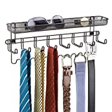 mDesign Closet Wall Mount Men's Accessory Storage Organizer Rack - Holds Belts, Neck Ties, Watches, Change, Sunglasses, Wallets - 19 Hooks and Basket - Bronze