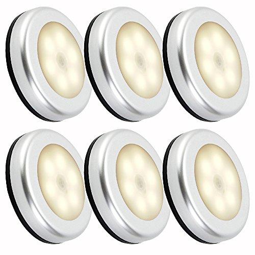 Nachtlicht mit Bewegungsmelder LED Lichter Batteriebetrieben 6 Stück Auto EIN/AUS 3M Klebend für Kinderzimmer Schlafzimmer Küche Flur Schrank Orientierungslicht (Warm weiße)