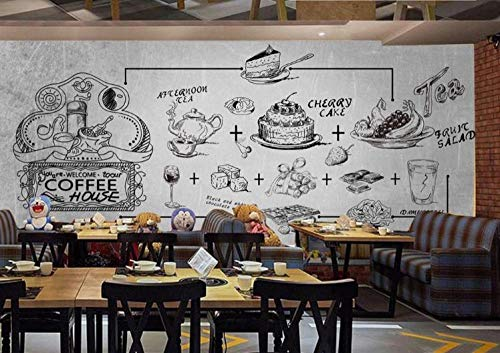 Tony plate 3D Foto tapete Wandgemälde Handgemalte Kuchen Kaffee Bild Restaurant Fast-Food-Restaurant EIS Auto Dessert Shop Coffeeshop Poster Wandbild-350Cmx256Cm(Lxh)