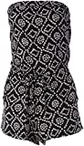 Angie Women's Strapless Black Printed Romper, Medium