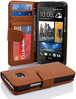 Cadorabo Book Case Works with HTC ONE M7 (1. Gen.) in Cognac Brown – with Magnetic Closure and 3 Card Slots – Wallet Etui Cover Pouch PU Leather Flip