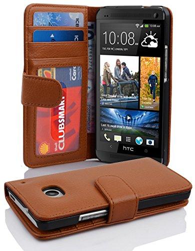 Cadorabo Hülle für HTC ONE M7 (1. Gen.) - Hülle in Cognac BRAUN – Handyhülle mit 3 Kartenfächern - Case Cover Schutzhülle Etui Tasche Book Klapp Style