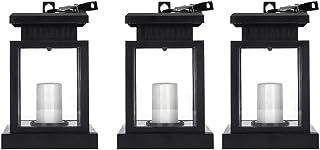 Gesh 3Pcs Waterproof LED Solar Garden Light Flickering Flameless Candle Outdoor Lighting Hanging Smokeless Solar Lantern