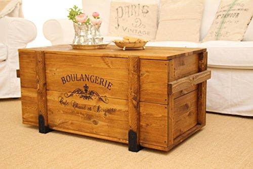 Truhentisch Boulangerie shabby chic Frachtkiste vintage Transportkiste, hellbraun, 98x55x46cm - 4