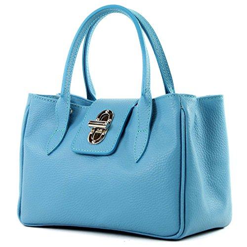 modamoda de - Bolso de mano pequeño ital TL03, Color:cielo azul de cuero