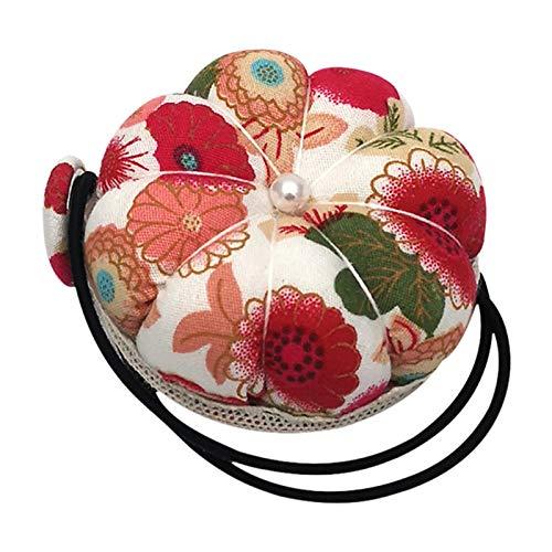 Nogan Coussin d'épingle à Aiguille Coussin d'aiguille de Coussin d'aiguille d'épingle de Poignet de Fleur Florale pour la Couture avec la Ceinture élastique de Poignet Present