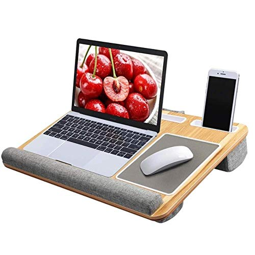 Lapdesk Fits up to 17 inches Laptop Desk, Laptop Stand with Tablet and Phone Holder Built in Mouse Pad Wrist Pad for NoteBook, B