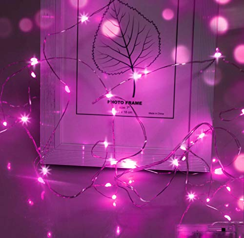 LED String Lights,Cshare 50 LEDs 5m/16.4ft IP65 Waterproof Festive Lights,Battery Powered Fairy String Lights for Girls Bedroom Decorations.(Pink)