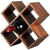 BaoGuona Estante de Vino, Estante de Vino de Madera Maciza, Pantalla de Pantalla de Botella de Vino Casa Pequeña, Pantalla Diagonal, 282mm X120mm x282mm