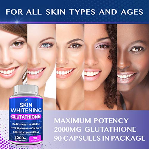 51QNEZ2Be0L - Glutathione Whitening Pills - 90 Capsules 2000mg Glutathione - Effective Skin Lightening Supplement - Dark Spots, Melasma & Acne Scar Remover, Hyperpigmentation Treatment - Anti-Aging Antioxidant