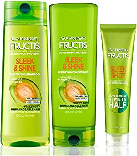 Garnier Hair Care Fructis Sleek & Shine Shampoo, Conditioner, and Sleek Shot In-Shower Styler, For Frizzy, Dry Hair, Paraben Free Formulas, 1 Kit