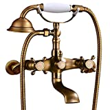 Antique brass Clawfoot Bathtub Faucet Wall Mount Hand Held Shower Faucet Set Double cross Handle with 3-3/8 Inch Center with Adapter Adjustable Swing Arms