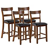 COSTWAY Barstools Set of 4, 25.5-Inch Counter Height Chair with Backrest, Foam-Padded Cushion, Rubber Wood Legs, Wooden Vintage Dining Chair for Bistro, Living Room, Kitchen, Brown and Black
