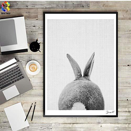 YHZSML Nordic Cute Rabbit Pattern Poster Wall Art Animal Canvas Pintura al óleo para Sala de Estar decoración del hogar B 40X55CM