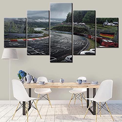 Cuadro en Lienzo 5 Piezas Impresión Pista de coches deportivos Nurburgring Rally Road XXL Impresión Artística 5 Piezas Lienzo de Tejido no Tejido Estampado Decoración de Pared Aislamiento