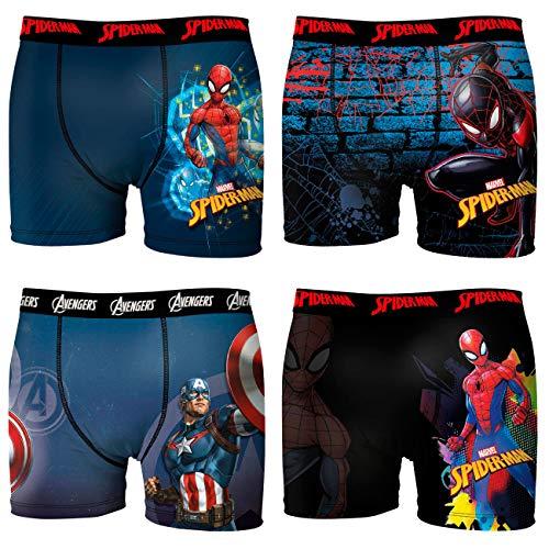 FREEGUN Marvel Jungen Boxershorts Spider-Man Avengers Captain America Comic Superhelden Druck 4er Pack 6/8 8/10 10/12 12/14 14/16 Jahre, Größe:6/8 Jahre, Farbe:Motivmix