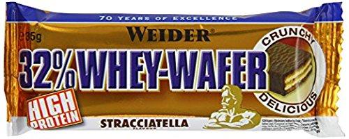 WEIDER 32% Whey Wafer Proteinriegel 35g, Stracciatella, 24 leckere Eiweiß Waffeln mit Schokolade
