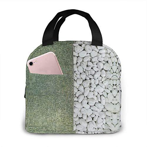Broken Bluestone and Pebbles Pattern impermeable cremallera portátil aislada bolsa de almuerzo lavable y reutilizable, adecuado para viajes al aire libre, picnic, oficina escolar.
