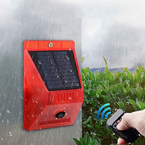 ALLOMN Solar Alarm Licht, Schallalarm Blitzlicht Bewegungssensor Sicherheitsalarm Warnblinklicht, 129db 8 LED Rotlicht IP65 Wasserdicht, Vier Modi, 5-8M Erfassungsabstand (1 Stück)