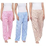 CIERGE Women's Cotton Solid Printed Pyjama/Track Pant Lower (Multicolour; Free Size) Pack of 3
