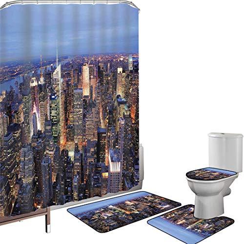 Juego de cortinas baño Accesorios baño alfombras Nueva York Alfombrilla baño Alfombra contorno Cubierta del inodoro Vista aérea de Nueva York llena de rascacielos Manhattan Times Square Panorama urban