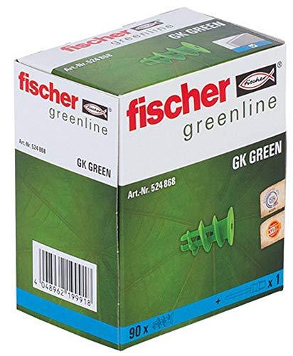 fischer Gipskartondübel GK GREEN, starker Gipskarton-Dübel aus mind. 50 % nachwachsenden Rohstoffen, einfache Montage in Gipskarton, 90 Stück