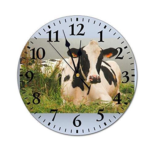 yyone PVC Modern Wall Clock, Holstein Cow Silent Non Ticking Wall Clock Round Home Wall Decor, 12 Inch