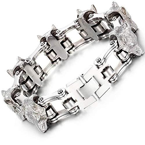 Gepersonaliseerde Heren Lederen Armband Mannen armband titanium stalen Lion Head Roestvrij staal Armband Wolf Head herenfiets Chain Bracelet Heren gepersonaliseerde armband