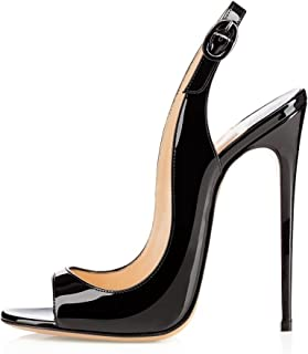Women's Peep Toe Pumps High Heels Stilettos Heeled Sandals Ankle Strap Slingback Sandals