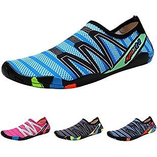 QIMAOO Barefoot Skin Shoes Water Socks, Men Women Quick Dry Water Sport Shoes, Unisex Aqua Shoes for Swim Yoga Beach Running Snorkeling Swimming Scuba Diving - Strips Blue - 7 UK
