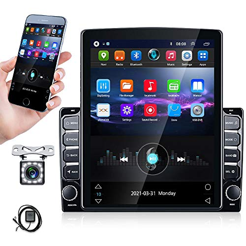 9.7 inch Android Car Radio Double Din Stereo with GPS+WiFi+Bluetooth+FM Radio Support Mirror Link for Android/iOS, SWC, Reversing Image Input + Dual USB & Backup Camera