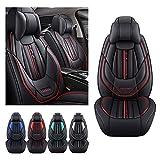 Juego de fundas de asiento de coche de lujo para Hyundai Kona 2016-2021, funda de cojín de piel sintética para vehículo, fundas impermeables compatibles con airbag (negro)