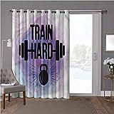 YUAZHOQI cortinas aisladas para puerta corredera, fitness, acuarelas, tren duro, 100 x 84 pulgadas de ancho x 84 pulgadas de largo cortinas de cristal para ventana (1 panel)