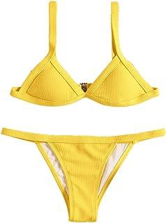 853e724af8 Subfamily Femme Maillots de Bain 2 Pièces Bikinis Dos Nu Taille Bas Push-up  Rembourré