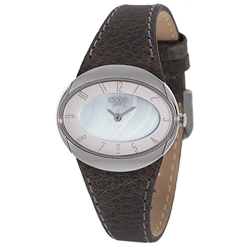 Boccia Damen Analog Quarz Uhr mit Leder Armband 3275-01