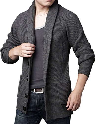 Yeokou Men's Casual Slim Thick Knitted Shawl Collar Cardigan Sweaters Pockets (Medium, Grey)