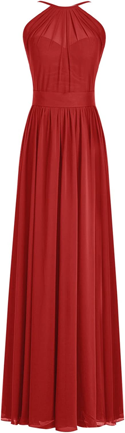Wedtrend Women's Halter Bridesmaid Dress Long Prom Evening Dress