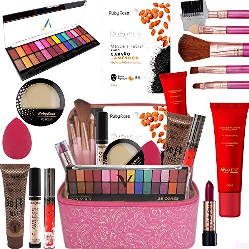 Maleta Maquiagem Top Profissional Tudo Ruby Rose Kit Pinceis