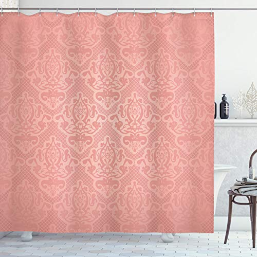 """Ambesonne Peach Shower Curtain, Lace Style Background with Antique Wedding Inspiration Motifs Ornamental Vintage Design, Cloth Fabric Bathroom Decor Set with Hooks, 70"""" Long, Coral"""
