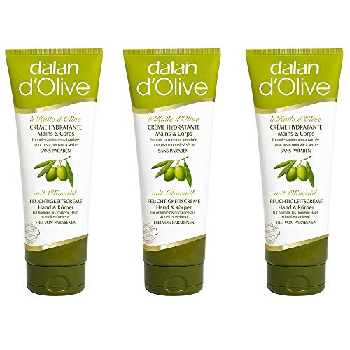 Dalan d\'Olive Feuchtigkeitscreme Hand und Körper, 3er Pack (3 x 75 ml)