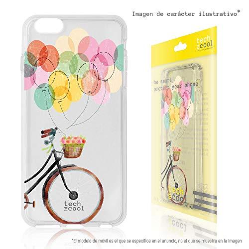 Techcool Funda Silicona para Huawei P9 [Gel Silicona Flexible [Diseño Exclusivo, Impresión Alta Definición] Bicicleta Globos Transparente