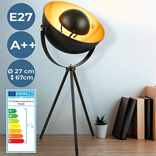 Tischlampe mit Stativ - EEK A++ bis E, Höhe 135 cm, schwenkbar, 60 W, E27, Schwarz-Gold - Tripod Tischleuchte, Nachttischlampe, Schreibtischlampe, im Retro Vintage Design für Wohnzimmer, Schlafzimmer