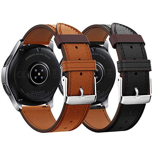 Syxinn Kompatibel mit 22mm Leder Armband Galaxy Watch 46mm/Gear S3 Frontier/Classic Armband Echtes Leder Uhrenarmbänd Sport Strap Armband für Huawei Watch GT/Moto 360 2nd Gen 46mm
