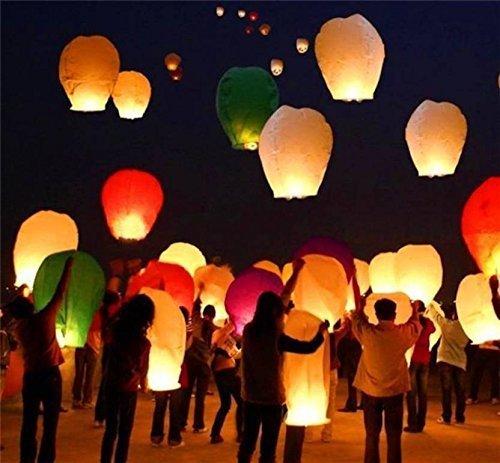 ACTIMOB AM-21 Make A Wish Hot Air Balloon Paper Sky Lantern (Mix Colour) - Pack of 10